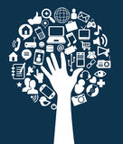 Social network. Icons over blue background vector illustration Royalty Free Stock Photo