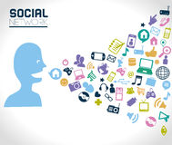 Social network. Icons over gray background vector illustration Royalty Free Stock Photography