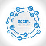 Social network. Icons over gray background vector illustration Royalty Free Stock Photos