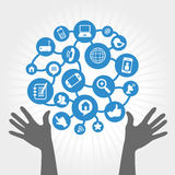 Social network. Icons over white background vector illustration Stock Photography