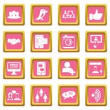 Social network icons pink. Social network icons set in pink color isolated vector illustration for web and any design stock illustration