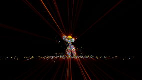 Social Network Icons Robot Dancing with red lasers, 4K stock footage