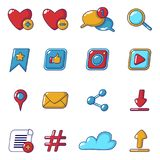 Social network icons set, cartoon style. Social network icons set. Cartoon illustration of 16 social network vector icons for web Stock Image