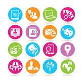 Social network icons. Set of 16 social network icons in colorful buttons vector illustration