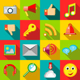 Social network icons set, flat style Royalty Free Stock Images