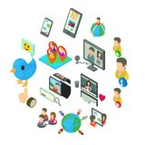 Social network icons set, isometric style. Social network icons set. Isometric illustration of 16 social network vector icons for web Stock Images