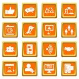 Social network icons set orange Royalty Free Stock Photos