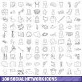 100 social network icons set, outline style Royalty Free Stock Image