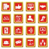 Social network icons set red Stock Photos
