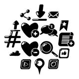 Social network icons set, simple style. Social network icons set. Simple illustration of 16 social network vector icons for web Stock Image