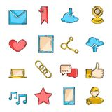 Social network icons sketch line. Set with communication user interface elements isolated vector illustration Stock Photography