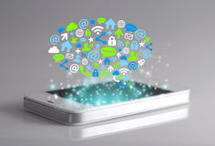 Social network icons with smartphone. A social networking is a platform to build social networks or social relations among people who share similar interests Royalty Free Stock Images