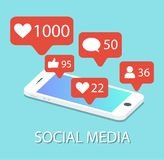 Social network icons in a smartphone. Notifications. Social media royalty free illustration