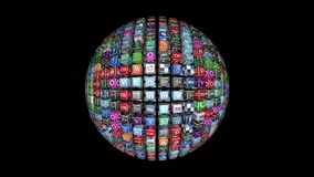 Social Network Icons sphere, stock video footage