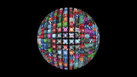 Social Network Icons sphere, stock video