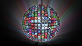 Social Network Icons sphere, shining stock video footage