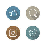 Social network icons and stickers set Royalty Free Stock Images