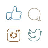 Social network icons and stickers set Royalty Free Stock Photos