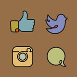 Social network icons and stickers Royalty Free Stock Photos