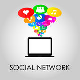 Social network icons on thought bubbles colors, vector illustrat. Social network icons on different colors thought bubbles with laptop. Vector Royalty Free Stock Photography