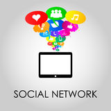 Social network icons on thought bubbles colors, vector illustrat. Social network icons on different colors thought bubbles with mobile phone. Vector Stock Image