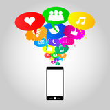 Social network icons on thought bubbles colors, vector illustrat. Social network icons on different colors thought bubbles with mobile phone. Vector Royalty Free Stock Images