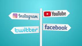 Social network icons on travel sign. 4K stock video