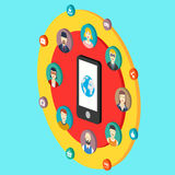 Social network illustration with avatars earth Stock Image