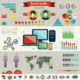 Social network infographics set Stock Photos