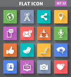 Social Network and Internet Icons set in flat style with long sh Stock Image