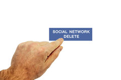 Social network. Isolated male hand touching pointing to social network delete Royalty Free Stock Photos