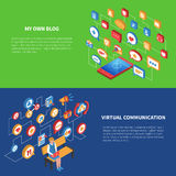 Social Network Isometric Banner Set. Isometric banner set with two variants of using social network by laptop and tablet vector illustration Royalty Free Stock Image