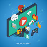 Social Network Isometric Composition Stock Images