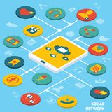 Social network isometric Royalty Free Stock Images