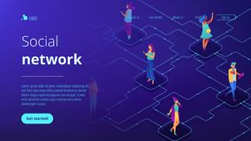 Social network isometric 3D landing page. vector illustration