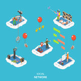 Social network isometric flat vector illustration. Stock Photos