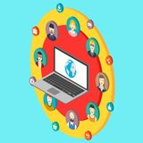 Social network isometry illustration with avatars Royalty Free Stock Images