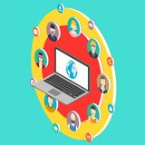 Social network isometry illustration with avatars Stock Photos