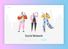 Free Social Network Landing Page Template. Young People Characters Chatting Using Smartphone For Website Or Web Page Stock Photography - 131885862