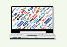 Social network laptop Stock Images