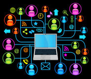 Social network laptop black Royalty Free Stock Photos