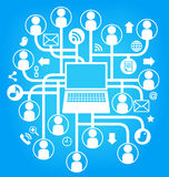 social network laptop sing blue Stock Photos