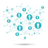 Social network. In lattice points are people icons Royalty Free Stock Photography