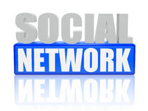 Social network - letters and cubes. 3d color letters and cubes with text - social network Stock Photo