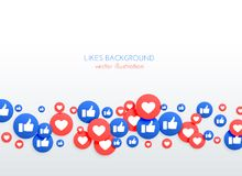 Social network like thumb up and heart icons background. Illustration royalty free illustration