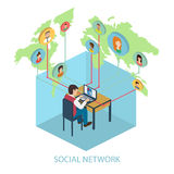Social network on-line concept for web and infograp Royalty Free Stock Image