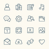 Social network line icons Royalty Free Stock Photos