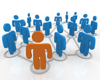 Social Network of Linked People. A network of people linked together with connections Stock Photo