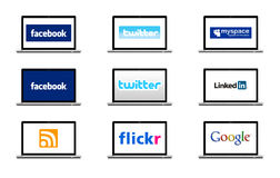 Social network logo. Visible on the display of a laptop Stock Image