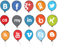 Social Network Logo Balloons Color Stock Photography